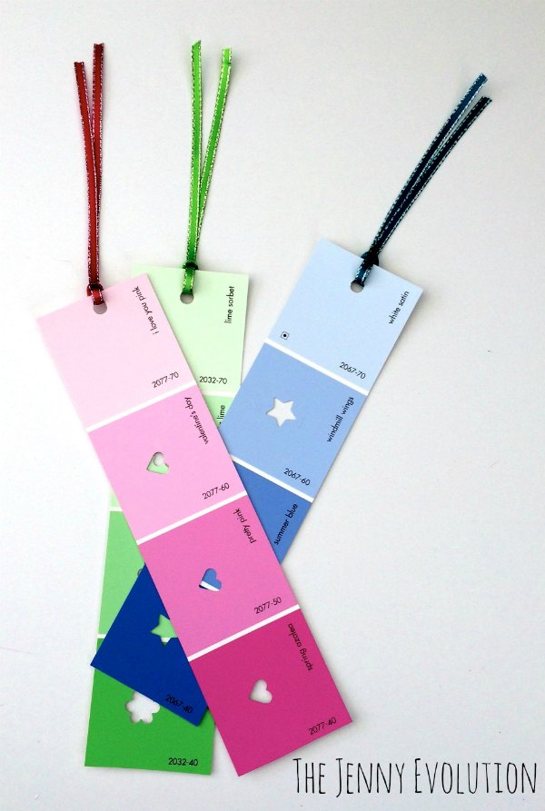 Bookmark Ideas Part - 36: Upcycled DIY Paint Chip Bookmarks | The Jenny Evolution