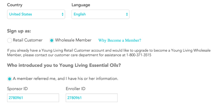YL Sign Up Page