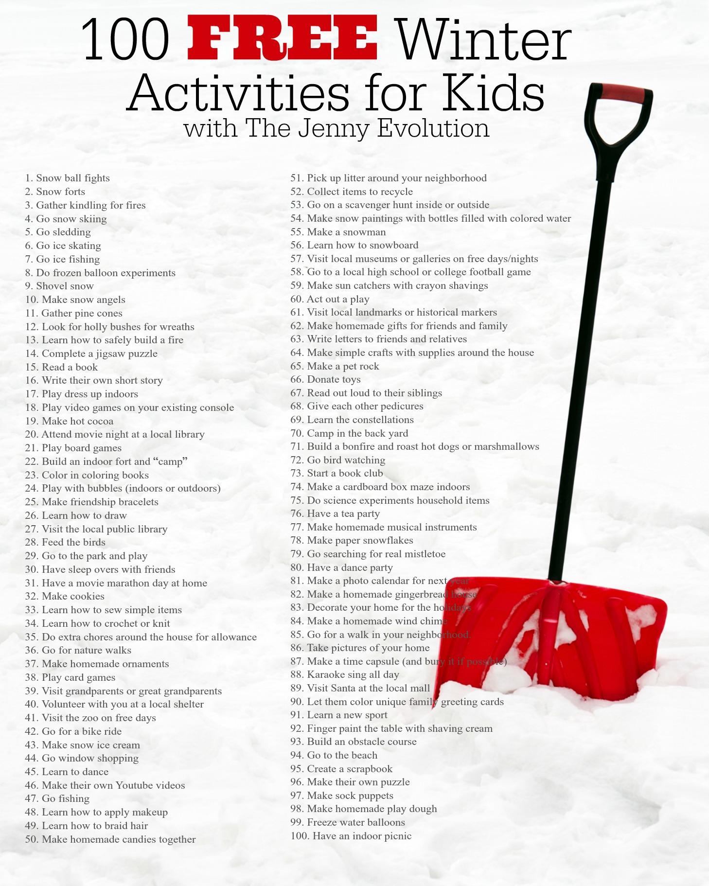 100 Free Winter Activities For Kids