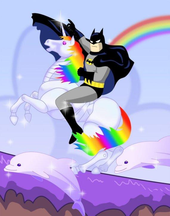 Batman Riding a Robot Unicorn