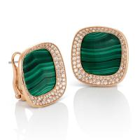 Carnaby Street malachite earrings in rose gold with ...