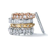 Tiffany Jazz ring in 18k rose gold, Channel-set in platinum;