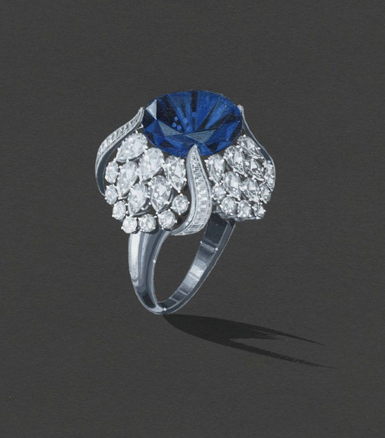 Sapphire tulip ring