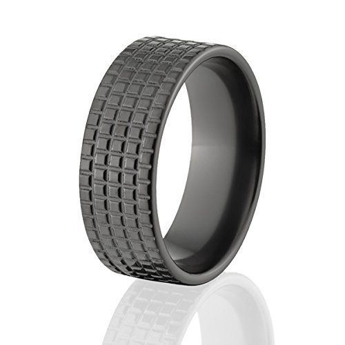 Tire Tread Milled Into Black Zirconium Unique Tire Bands