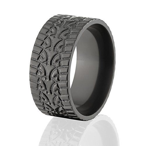 10mm Wide Tire Tread Rings Top Black Tire Bands
