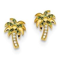 Palm Tree Stud Earrings with Green CZ in 14K Gold with ...