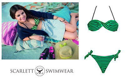 #CelebSpotting Selena Gomez is no stranger to the beach & always finds a fun way to dress things up while basking in the sunshine. You can steal her look with the #RacingStripes bandeau bikini from Scarlett Swimwear.