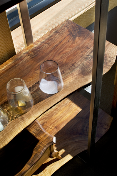 high kitchen table with storage cabinet handles black live edge metal bookcases   the joinery