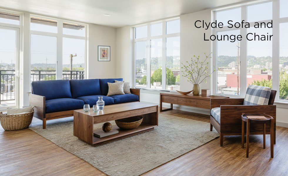 modern living room wooden furniture contemporary curtain interior design the joinery clyde walnut sofa and lounge chair with coffee table celilo media center