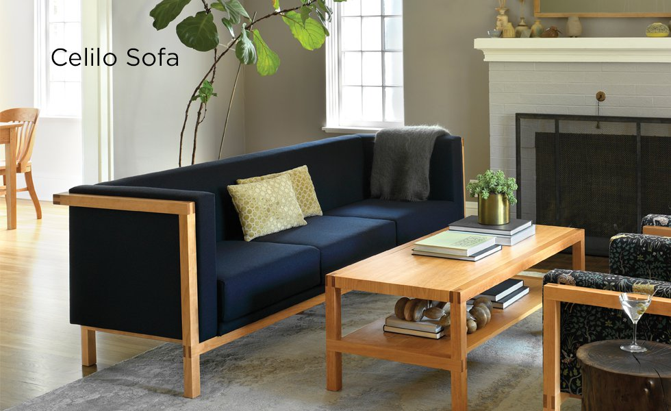 cherry furniture living room chicago bungalow ideas the joinery celilo sofa in with coffee table