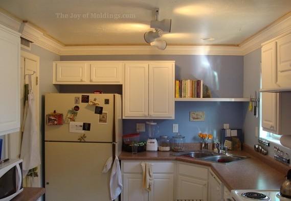 diy kitchen crown molding buildup
