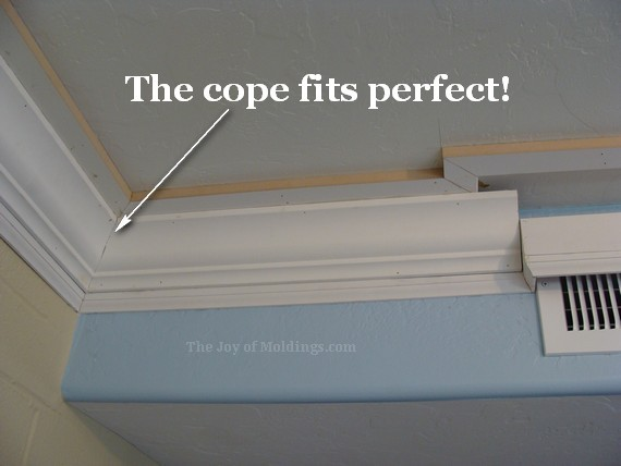 diy kitchen crown molding buildup cope joint