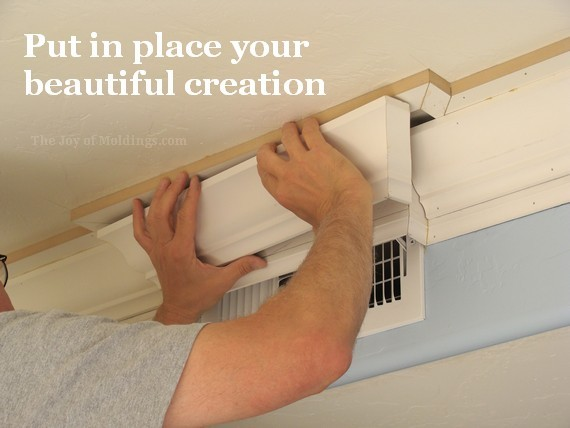 diy kitchen crown molding around air vent