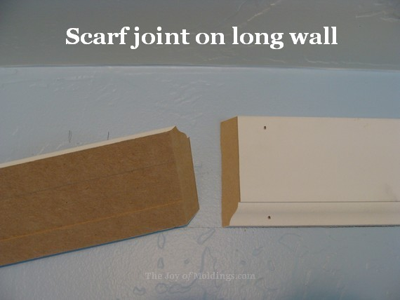 crown molding buildup in kitchen scarf joint