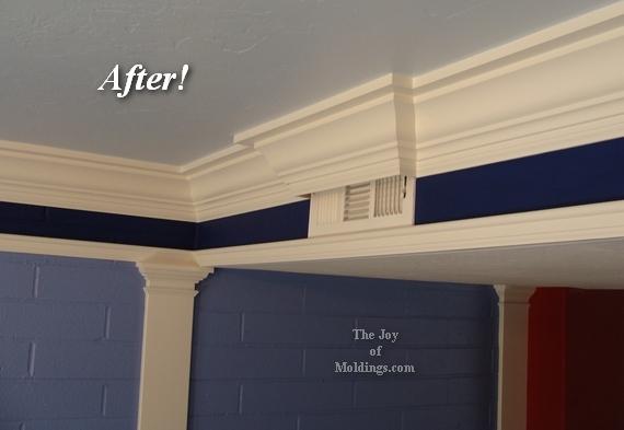 kitchen crown molding around air vent
