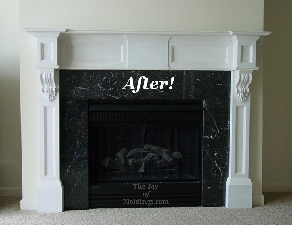 after fireplace mantel with corbels installation