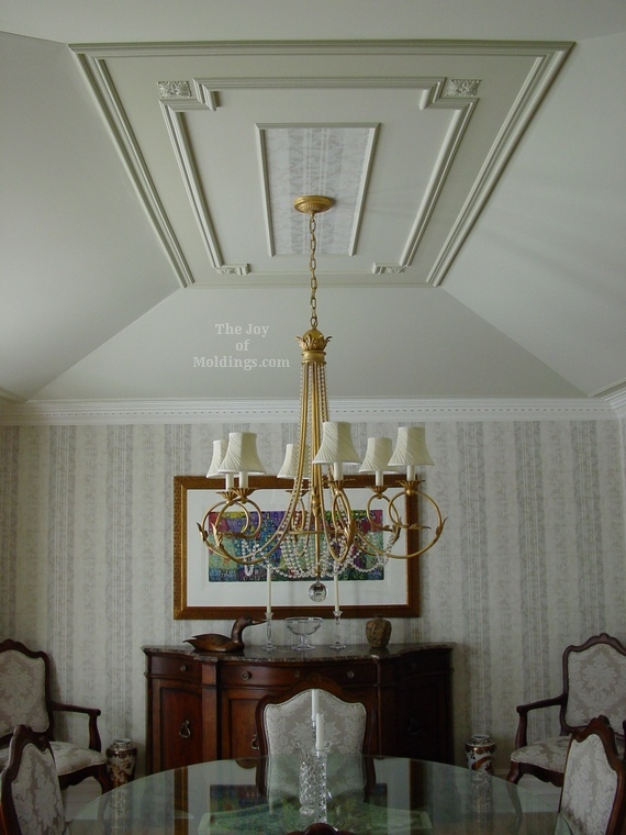 before and after tray ceiling paint and molding installation with rosettes