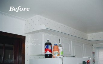before and after craftsman victorian kitchen crown molding buildup