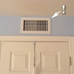 how to install crown molding around air vent
