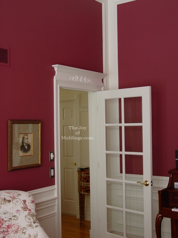 parlor red walls white moldings