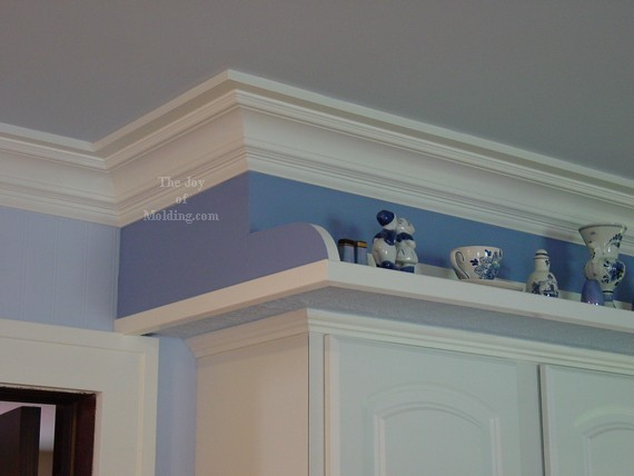 white painted crown molding blue walls