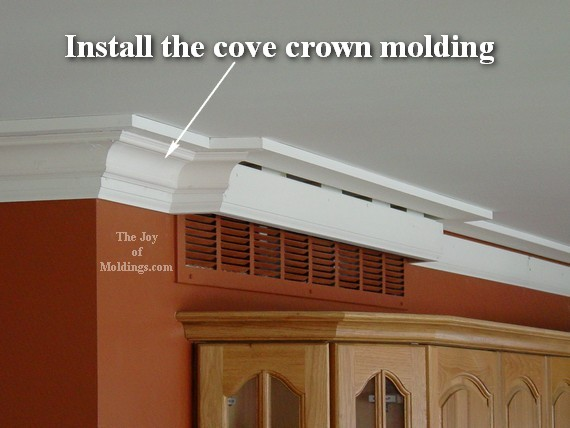 how to install crown molding on air vent