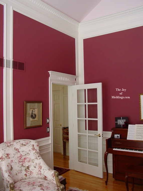 room painted red with white moldings