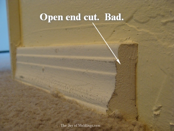 baseboard molding end cut