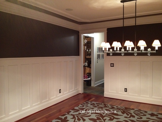 tall diy wainscoting in dining room