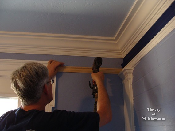 how to nail picture rail molding to wall