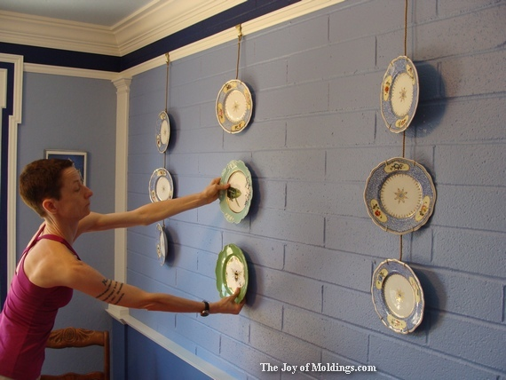 how to hang plates from picture rail molding