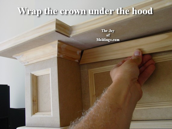 how to install crown molding on fireplace mantel