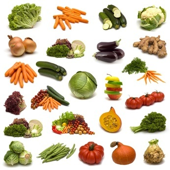 Gluten-Free Diet: vegetables on white background