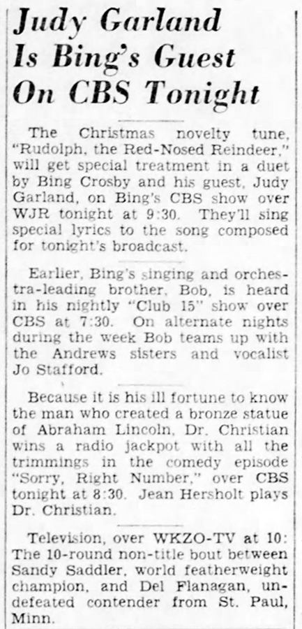"Judy Garland on ""The Bing Crosby Show"""