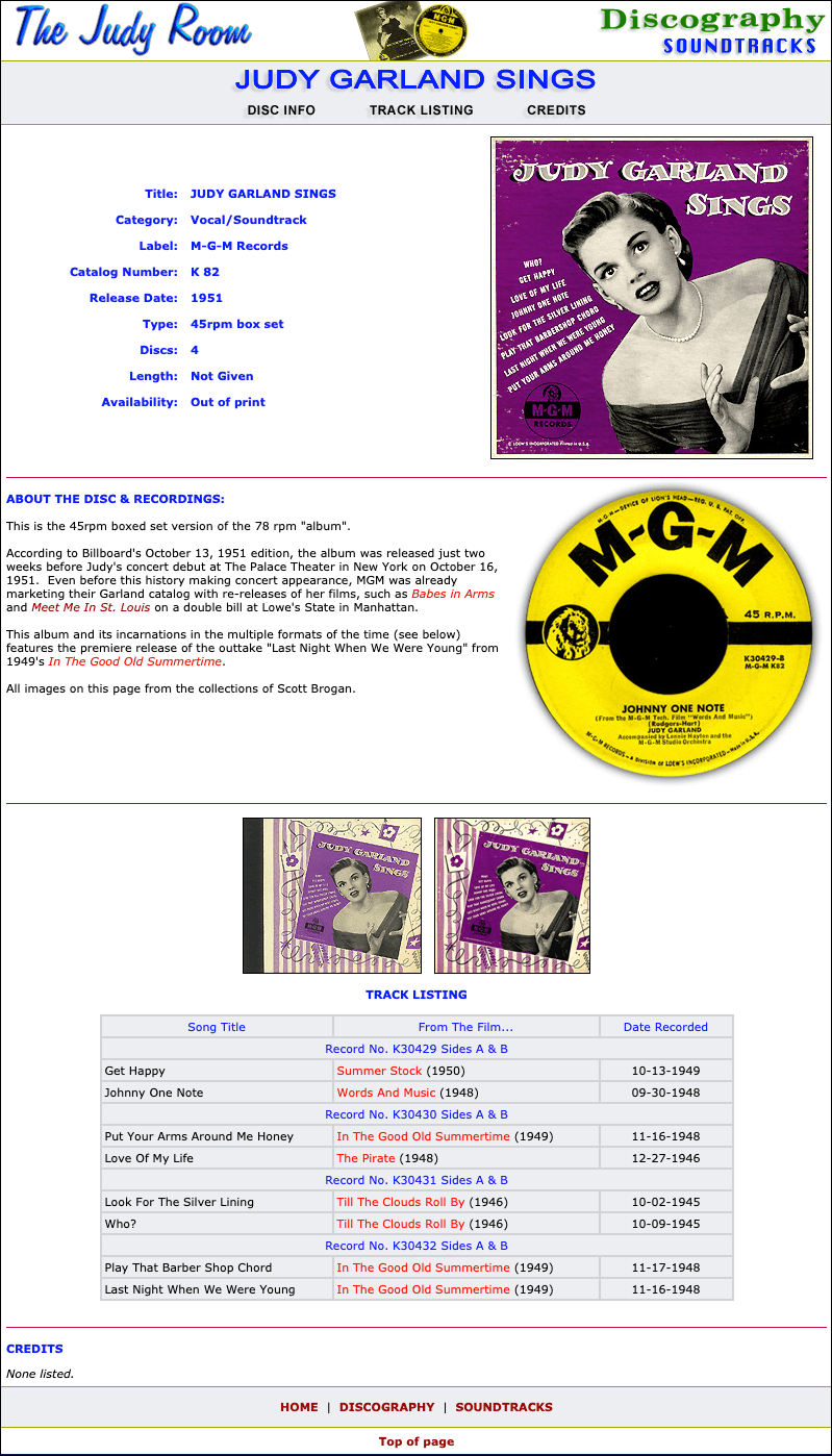 Example of the Discography page format