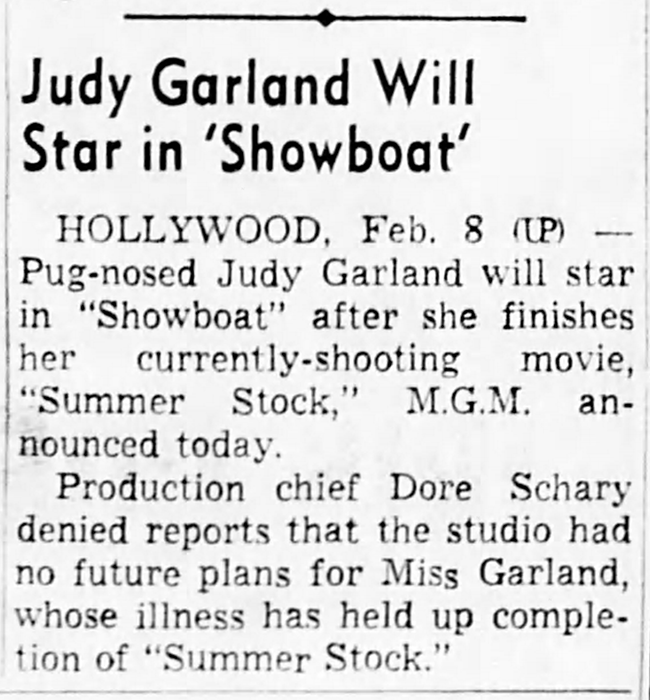 "Judy Garland in ""Show Boat"""