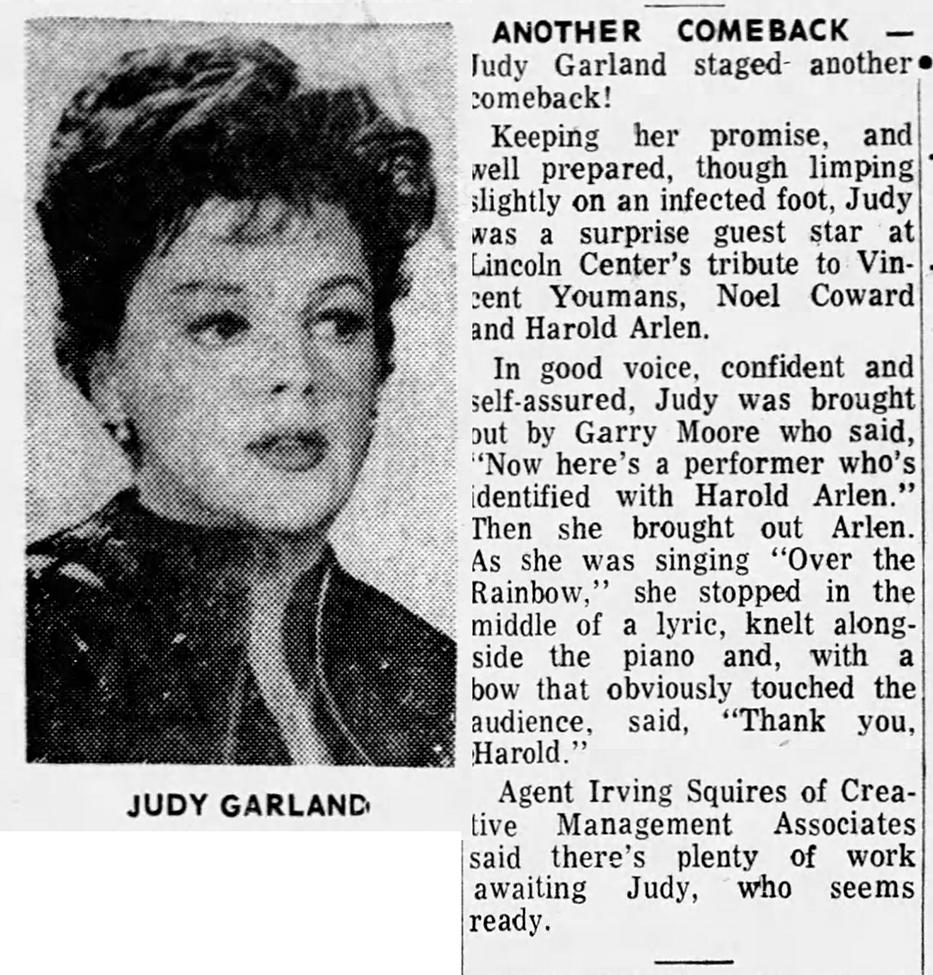 Judy Garland sings for Harold Arlen
