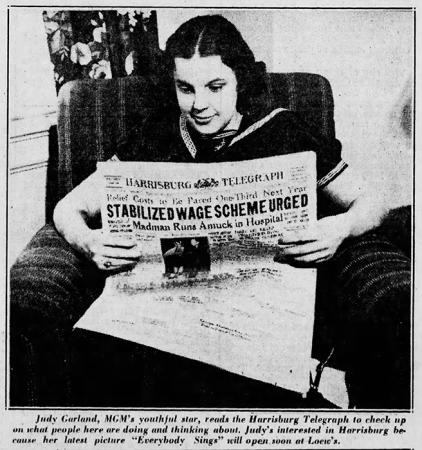 "Judy Garland in ""Everybody Sing"" - Newspaper promo"
