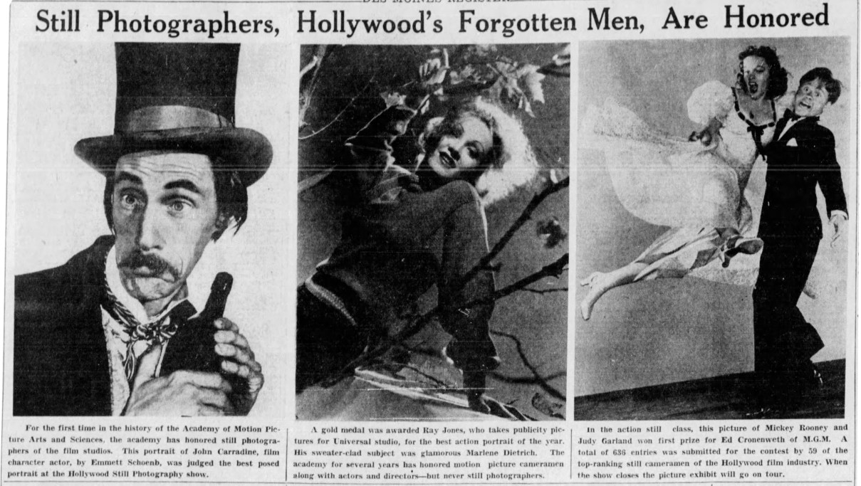 1941 Academy of Motion Pictures Arts & Sciences photography honorees