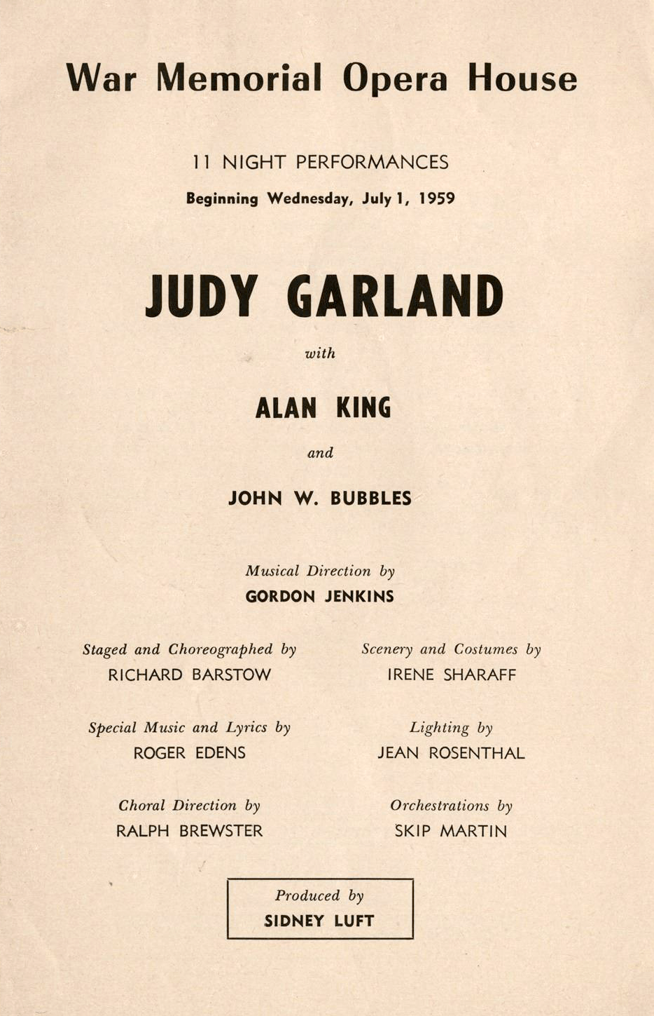 Judy Garland at the SF War Memorial