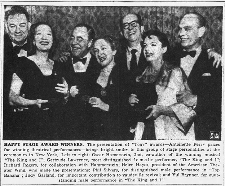 Judy Garland receives the Tony Award March 30, 1952