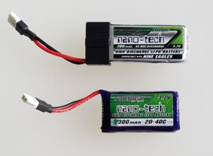 Two different 300mAh 1S LiPo batteries