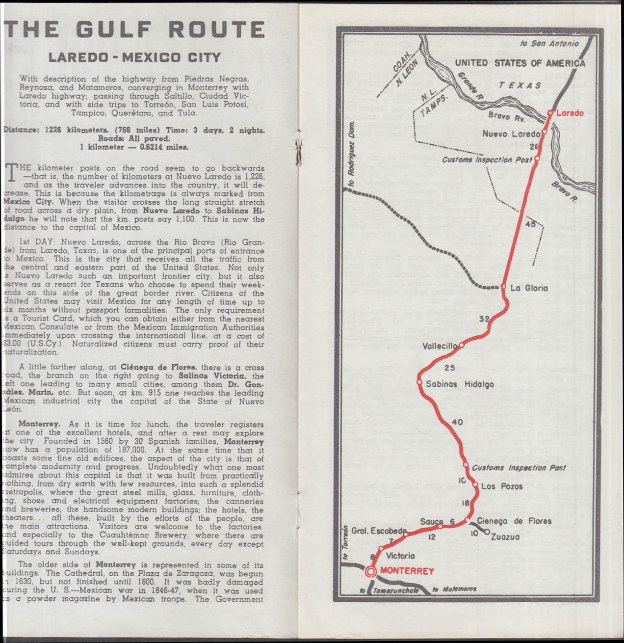 Pemex Travel Club The Gulf Route Nuevo Laredo-Mexico City