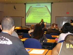 Information sessions included a talk on how to apply for financial aid.