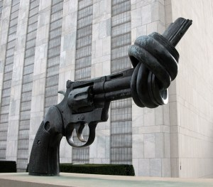 A sculpture like this one at the United Nations is coming to HCC