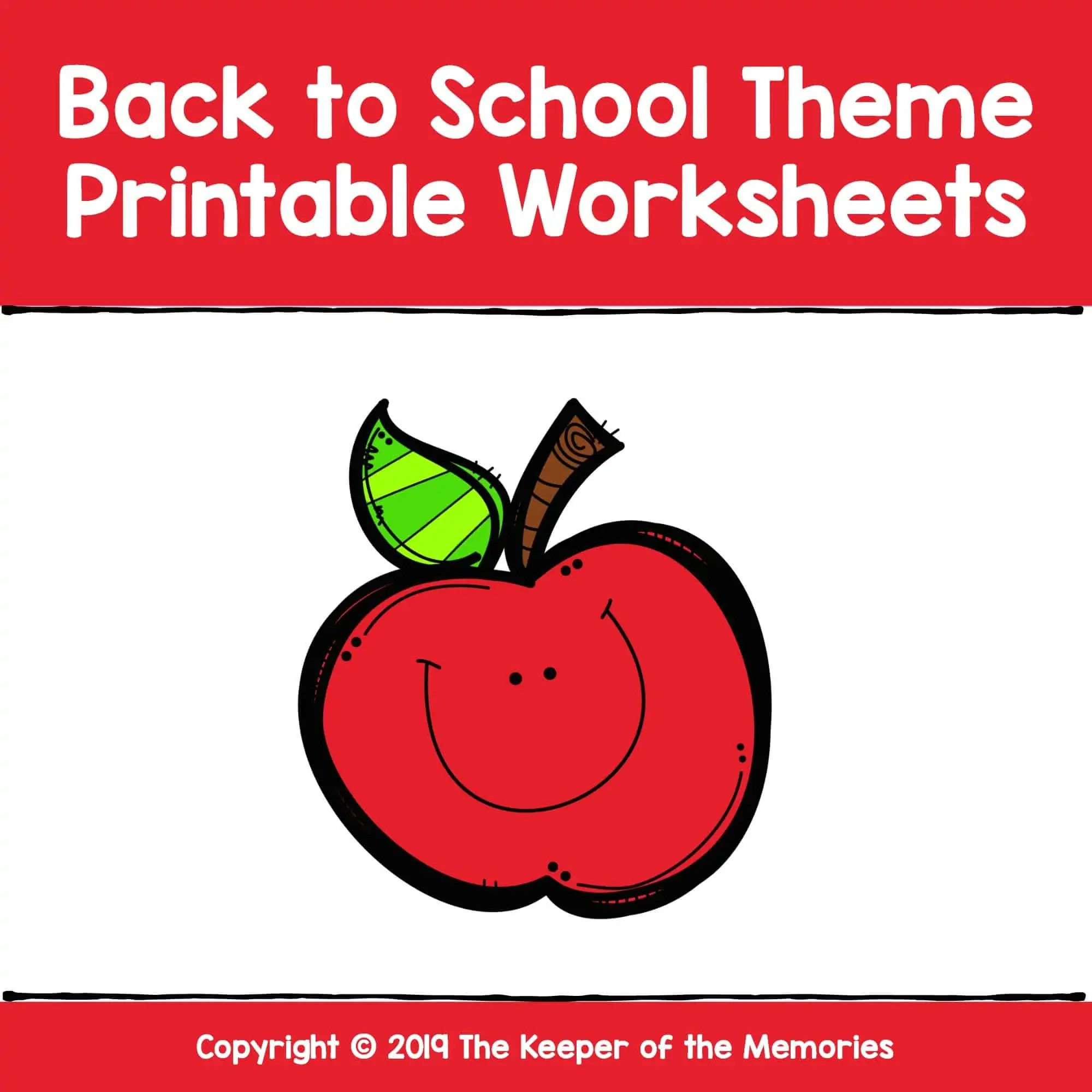 Back To School Theme Printable Worksheets Cover