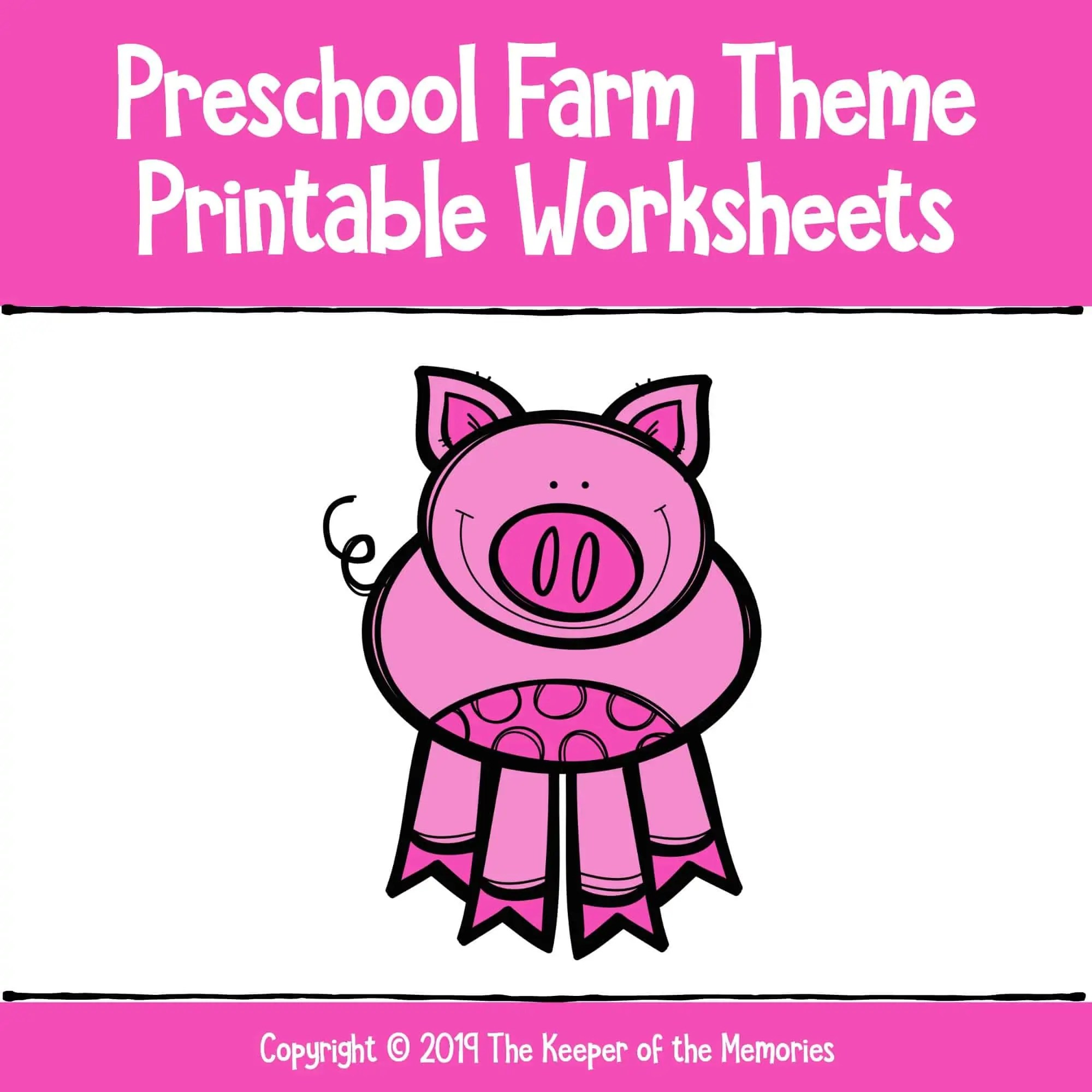 Preschool Farm Theme Printable Worksheets Cover