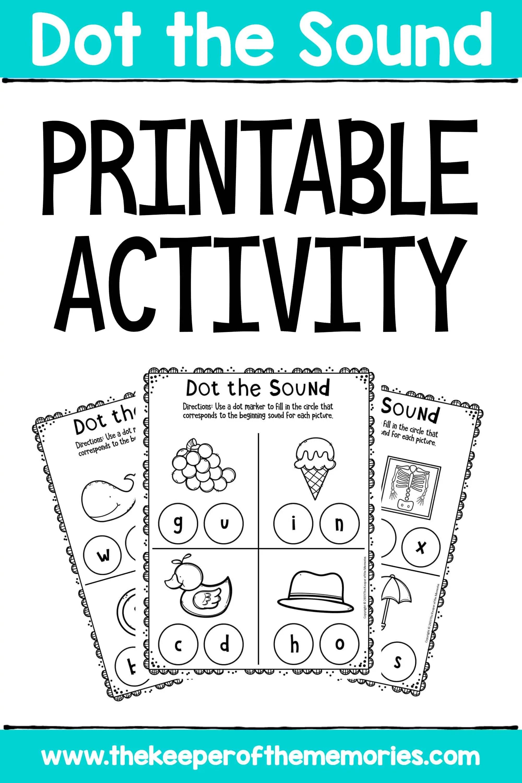 Preschool Worksheets Dot The Sound Printable Activity