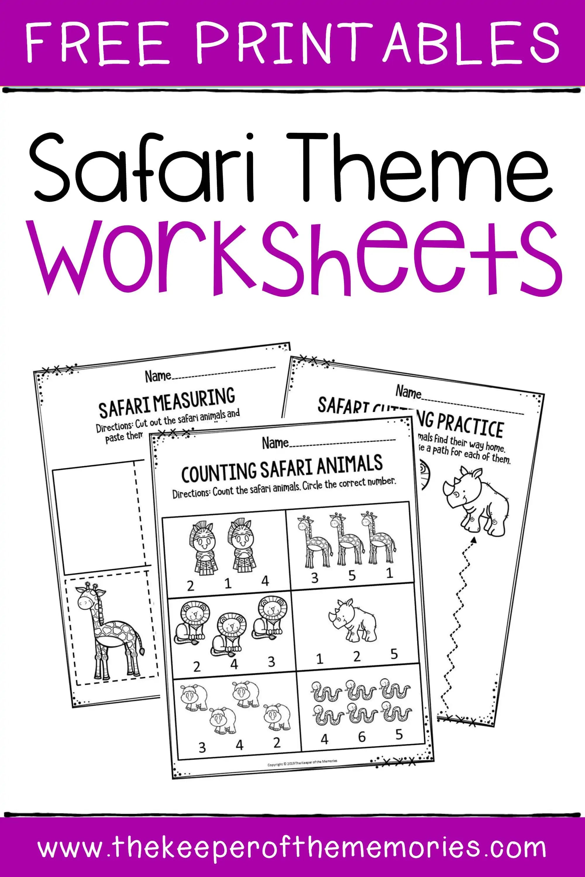 Preschool Worksheets Safari Theme