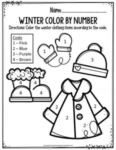 Preschool Worksheets Winter Color By Number Clothing Items